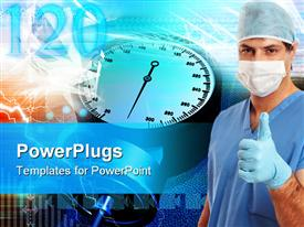 PowerPoint template displaying a beautiful depiction  of a nurse with health related material