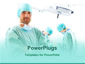 PowerPoint template displaying three surgeons in operation theater one surgeon looking at the camera, two surgeons performing surgery