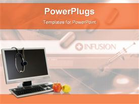 PowerPoint template displaying syringes & stethoscope