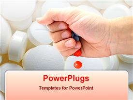 PowerPoint template displaying tablets from hand in the background.