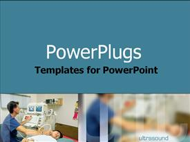 PowerPoint template displaying technician conducting an ultrasound in the background.