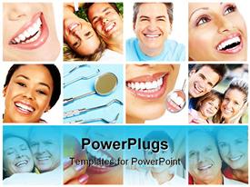 PowerPoint template displaying background filled with icons depicting smiling people with perfect white smiles