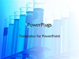 PowerPoint template displaying test tubes in the background.