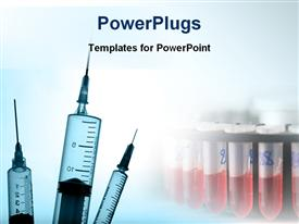 PowerPoint template displaying three medical syringes with plain white background