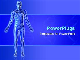 PowerPoint template displaying blue skeleton with arms outstretched blue background