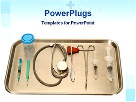 PowerPoint template displaying a number of injections along with a stethoscope