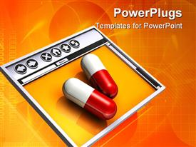 PowerPoint template displaying two large red and white pills sitting on top of a simple internet browser