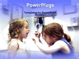 PowerPoint template displaying two cue girls playing doctor patient in their room