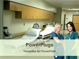 PowerPoint template displaying two nurses standing ward