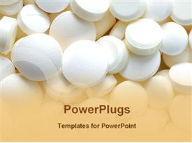 PowerPoint template displaying bunch of white pills, medication, pharmaceuticals,