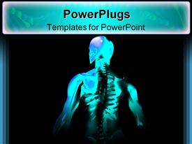 PowerPoint template displaying x-ray of man showing skeleton; ribs and spinal chord