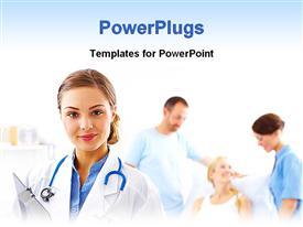 PowerPoint template displaying doctor nurse with stethoscope and clipboard, patients, medical care