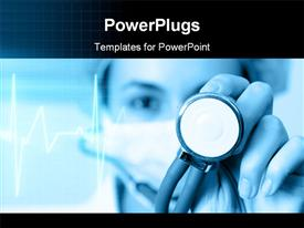 PowerPoint template displaying female doctor examining heart pulse with stethoscope with pulse in background