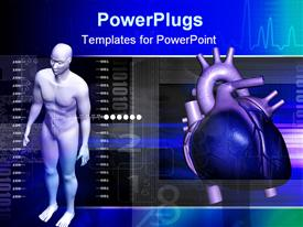 Human body and heart in color background powerpoint template