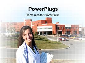 PowerPoint template displaying attractive female medical professional outside the hospital in the background.
