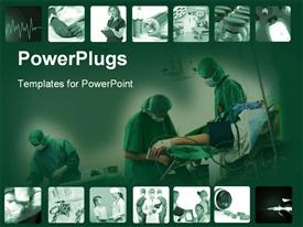 PowerPoint template displaying snapshots time hospital surgery doctors green background