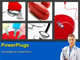 PowerPoint template displaying medical collage with syringes stethoscope and pills