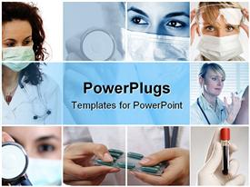 PowerPoint template displaying doctors performing their duties, Blood, stethoscope, injection