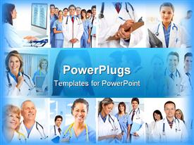PowerPoint template displaying medical and healthcare theme with collage of twelve depictions of doctors with stethoscopes, smiling doctors and nurses