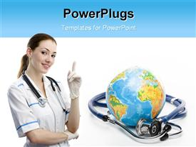 PowerPoint template displaying globe with stethoscope on a white background