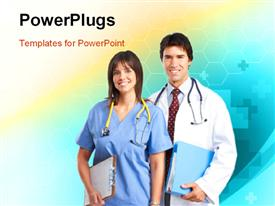 Smiling medical people with stethoscopes. Over blue background powerpoint theme