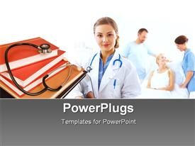 PowerPoint template displaying stethoscope on book pile with nurse and patient on sick bed