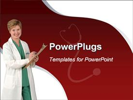PowerPoint template displaying nurse in white overall smiling as she takes notes