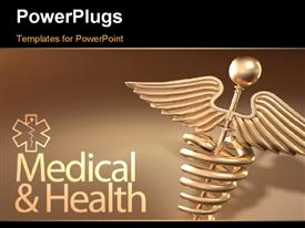 PowerPoint template displaying golden caduceus medical symbol with medical and health keywords over brown background