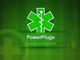 PowerPoint template displaying medical caduceus with nice ECG wave in the background