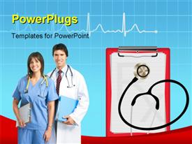 PowerPoint template displaying medical background with heart graph, stethoscope and diagnostic letter on blue in the background.