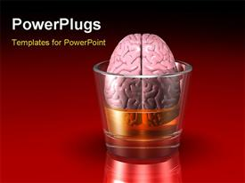 Pink human brain floating in a glass filled with an alcoholic beverage powerpoint design layout