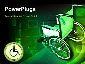 PowerPoint template displaying wheel chair in color background