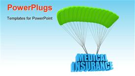 PowerPoint template displaying a parachute with medical insurance and sky in background