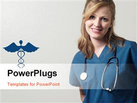 PowerPoint template displaying lady doctor wearing scrubs