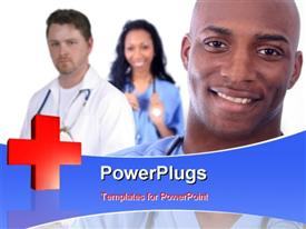African American Man and Woman Medical Workers powerpoint template
