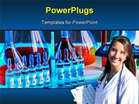 PowerPoint template displaying a doctor with  number of chemicals in the background