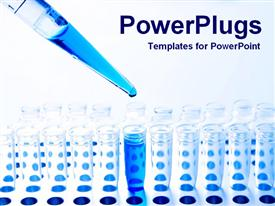 PowerPoint template displaying medical science pipette and test tubes and blue fluid, chemistry, research, lab