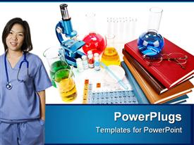 PowerPoint template displaying medical research theme with periodic table, stethoscope, glassware, books, woman in scrubs with stethoscope