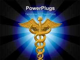 Illustration on white of the symbol of caduceus commonly used by the medical profession powerpoint design layout