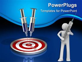PowerPoint template displaying two large surgical syringes stuck into the bulls eye of a metallic target on a reflective surface