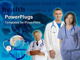 PowerPoint template displaying two doctors and a nurse smiling beside earth globe and stethoscope
