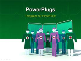 PowerPoint template displaying multi colored nurse characters on a green colored background