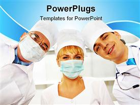 PowerPoint template displaying three therapeutics in masks looking at camera