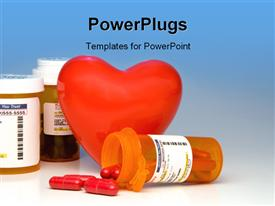 PowerPoint template displaying heart and bottles of prescription medication