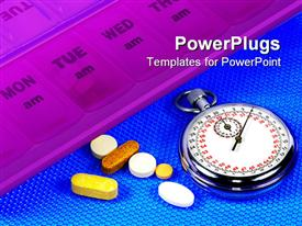 PowerPoint template displaying pill dispenser and a stopwatch