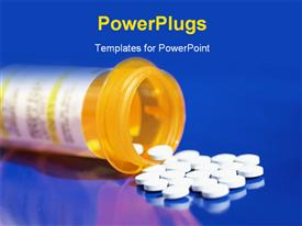 PowerPoint template displaying pills pouring from prescription bottle set on blue background