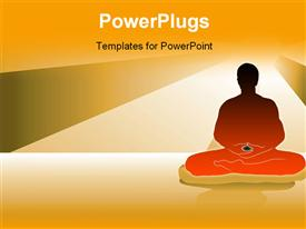 PowerPoint template displaying black silhouette of a man doing meditation under the moonlight