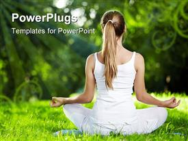 PowerPoint template displaying girl in one of the yoga postures back outdoors