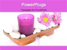 PowerPoint template displaying a candle with a lot of flowers and a white background