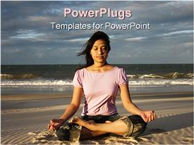 Woman meditating at sunrise powerpoint design layout